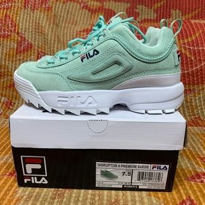 Fila Disruptor II Suede Sneakers Turquoise White